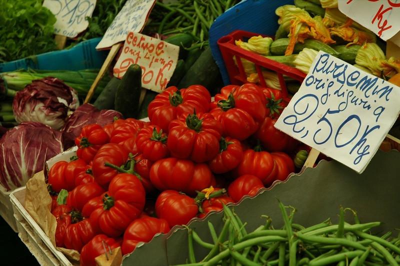 Costoluto Genovese Tomatoes at Mercato Orientale - Genova, Italy