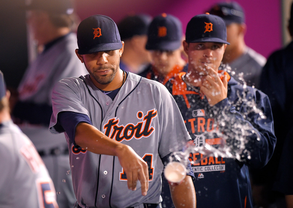 . Detroit Tigers starting pitcher David Price tosses a cup of water after being taken out of the game in the eighth inning of a baseball game against the Los Angeles Angels, Sunday, May 31, 2015, in Anaheim, Calif. (AP Photo/Mark J. Terrill)