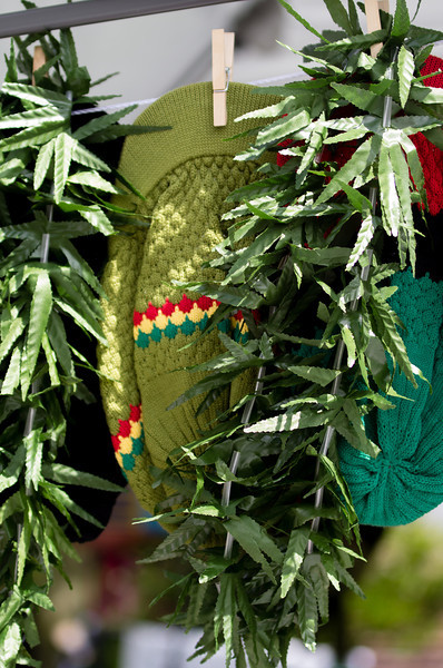 hats and silk leaves