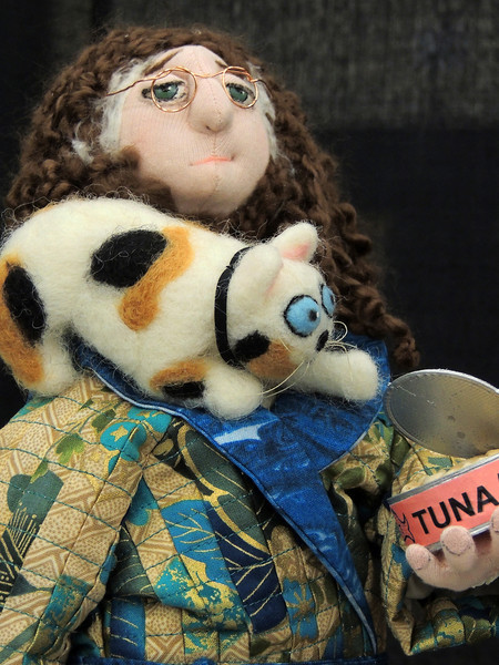 Detail of Cat Ladies Can't Eat Tuna by Melissa Lewis, Most Humorous Doll, Hoffman Challenge
