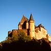 Medieval castle bathing in evening sunshine