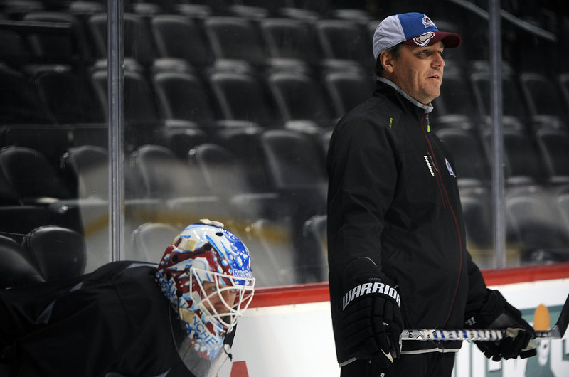 . Colorado Avalanche coach Kirk McLean watches players during practice January  17th, 2013. The Colorado Avalanche hit the ice for the first time this season at the Pepsi Center.  After long months of contract negotiations the season has finally started. Helen H. Richardson, The Denver Post