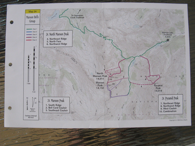 Gerry Roach's swell map shows the routes on Pyramid and the Bells.[Close up view later.] Superb route info from 14ers.com: http://www.14ers.com/routemain.php?route=pyra1&peak=Pyramid