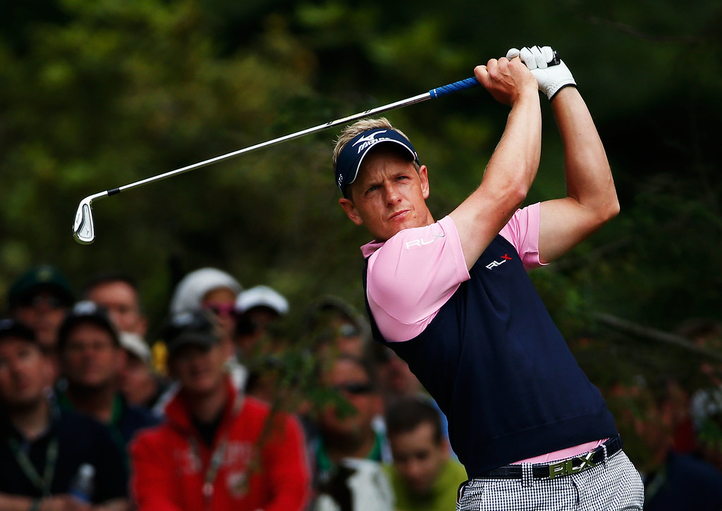 . Luke Donald of England hits his tee shot on the 16th hole during Round Two of the 113th U.S. Open at Merion Golf Club on June 14, 2013 in Ardmore, Pennsylvania.  (Photo by Rob Carr/Getty Images)