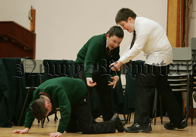 St Joseph's Boy's High School join in the celebration of 20 years of the Big Telly Theatre Company, Brendan Blair, Eamonn McIlroy and Brnard Woods taking part in the workshop. 07W8N21