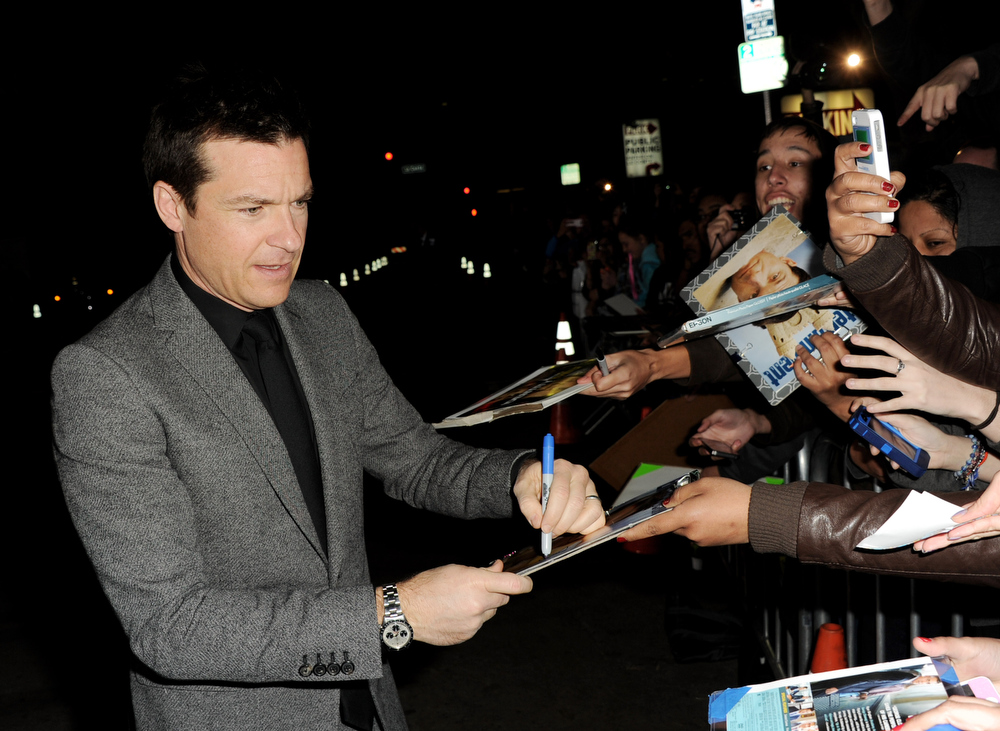 """. Actor Jason Bateman arrives at the premiere of Universal Pictures\' \""""Identity Theft\"""" at the Village Theatre on February 4, 2013 in Los Angeles, California.  (Photo by Kevin Winter/Getty Images)"""