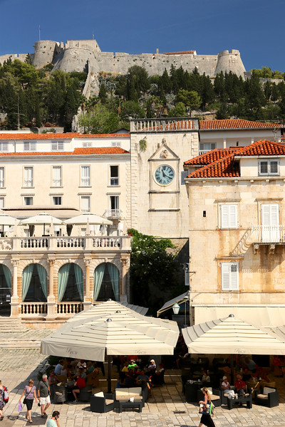 The Fortress looming above St Stephen's Square in Hvar Town