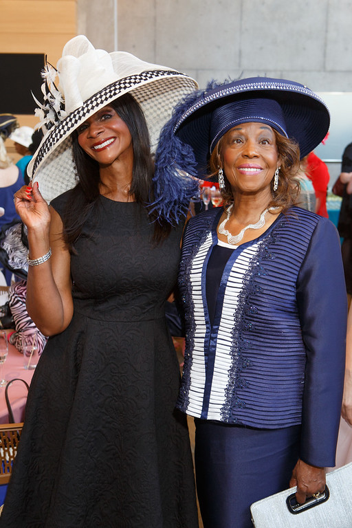 . Anitha Jones and Evelyn Leslie.  Women with Hattitude luncheon, benefiting the Women\'s Voices Fund, created by the Denver Center Theatre Company, at the Denver Center for Performing Arts, Seawell Ballroom, in Denver, Colorado, on Thursday, May 5, 2016. Photo Steve Peterson