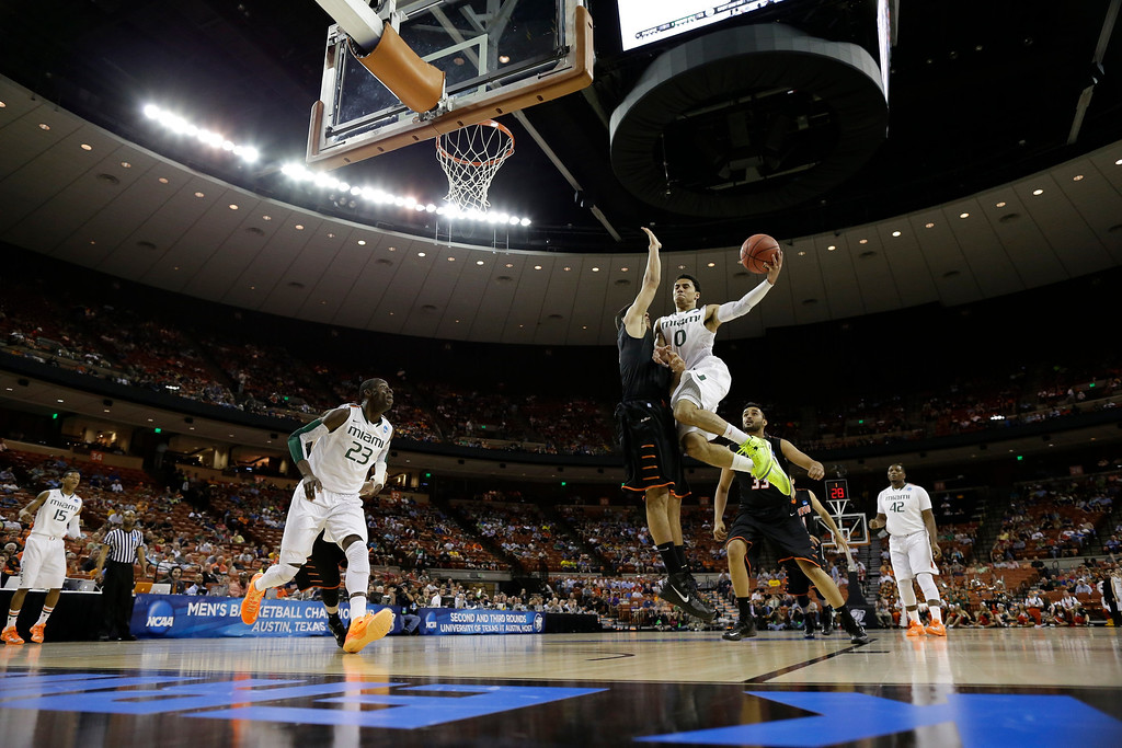 . Miami\'s Shane Larkin shoots during the first half of a second-round game of the NCAA college basketball tournament against the PacificFriday, March 22, 2013, in Austin, Texas.  (AP Photo/David J. Phillip)