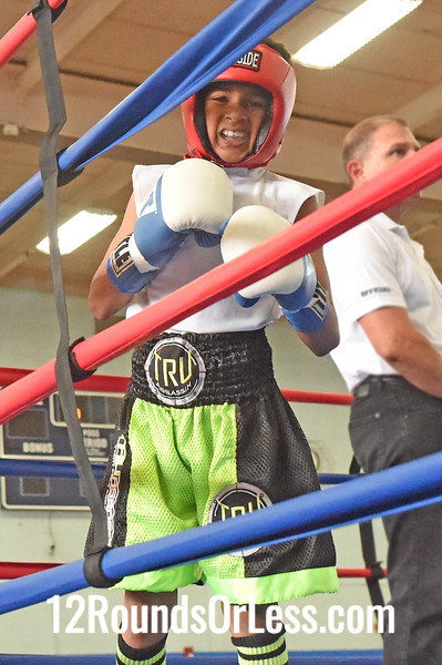 Bout 2 Travell Fain, Blue Gloves, Dream Team -vs- Abdullah Mason. Red Gloves, DNA Level C B.C., 70 lb Bantam Div. Championship