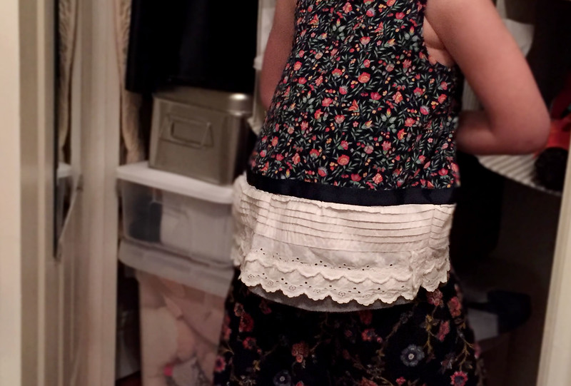 Detail of the finished ruffled lace shirt and short set.