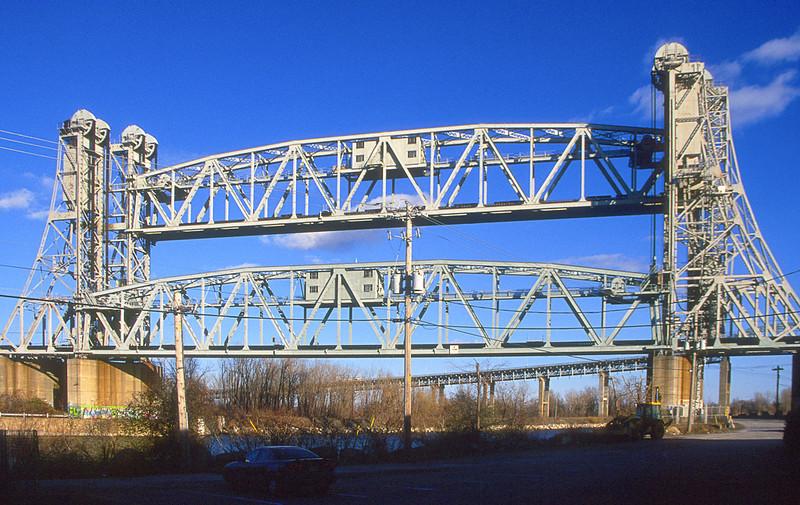 CPR Saint-Laurent Railway bridge lift spans seen from Kahnawake.