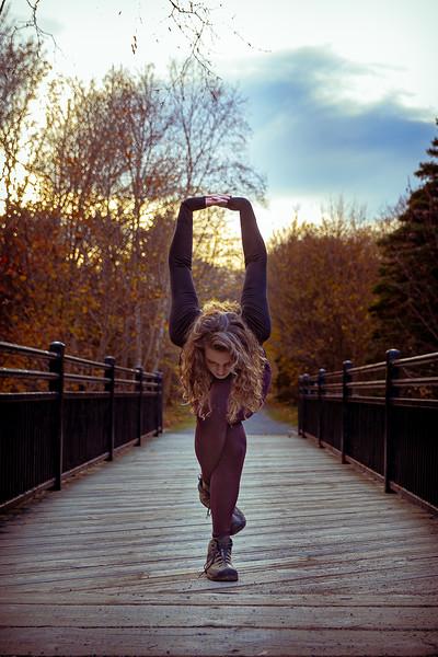 Sarah Yoga poses in Bowring Park