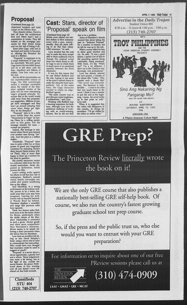 Daily Trojan, Vol. 119, No. 52, April 07, 1993