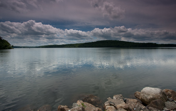 clouds reflecting, Andover reservoir