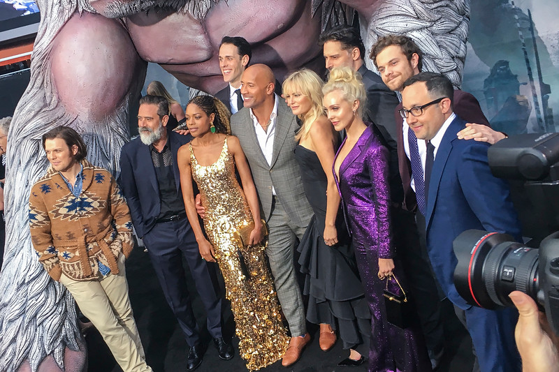 LOS ANGELES, CA - APRIL 04: Actors Jake Lacy, Jeffrey Dean Morgan, Naomie Harris, Jason Liles, Dwayne Johnson, Malin Akerman, Joe Manganiello, Breanne Hill, Jack Quaid and PJ Byrne arrive at the premiere of Warner Bros. Pictures' 'Rampage' at the Microsoft Theatre on Wednesday April 4, 2018 in Los Angeles, California. (Photo by Tom Sorensen/Moovieboy Pictures)