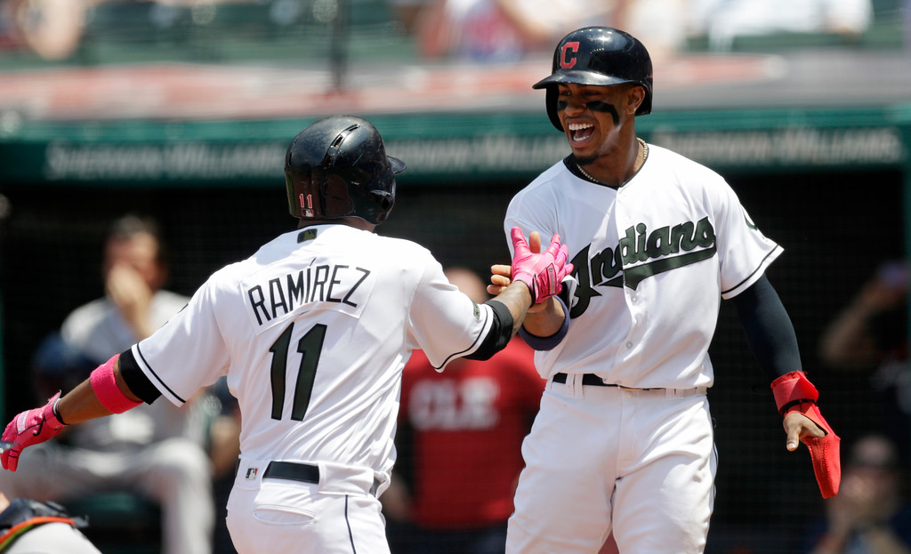 . Cleveland Indians\' Francisco Lindor, right, congratulates Jose Ramirez after Ramirez hit a two-run home run off Houston Astros starting pitcher Gerrit Cole in the first inning of a baseball game, Sunday, May 27, 2018, in Cleveland. Lindor scored on the play. (AP Photo/Tony Dejak)