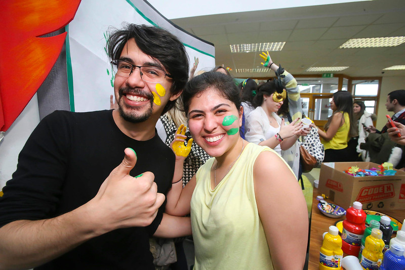 "04/03/2015. Free To Use Image. Pictured at WIT (Waterford Institute of Technology) where Brazilian students celebrated ""Carnaval"". The students celebrated all things Brazilian. Pictured are students celebrating  Picture Patrick Browne."