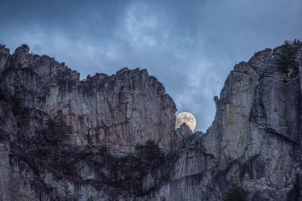 Moon Over Seneca Rocks