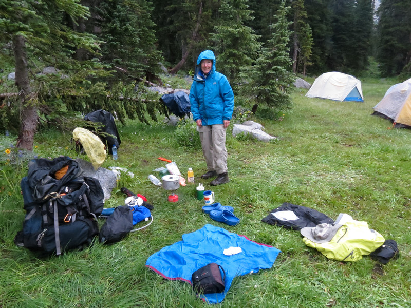 The next morning.  The wettest I have ever been backpacking since the infamous 1997 fall color backpack in the Joyce Kilmer-Slickrock Wildernss.  Susie wanted to break camp while it was not raining.