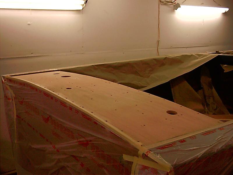 New plywood glued on rear deck.
