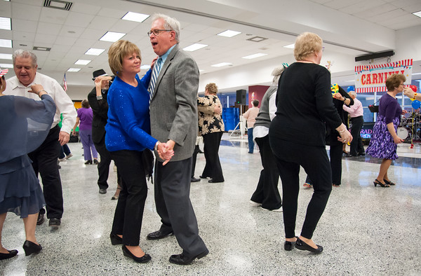 04/19/18 Wesley Bunnell | Staff Ray and Denis Colburn dance Thursday night at TRIAD's 20th annual senior prom held at New Britain High School which featured a carnival theme.