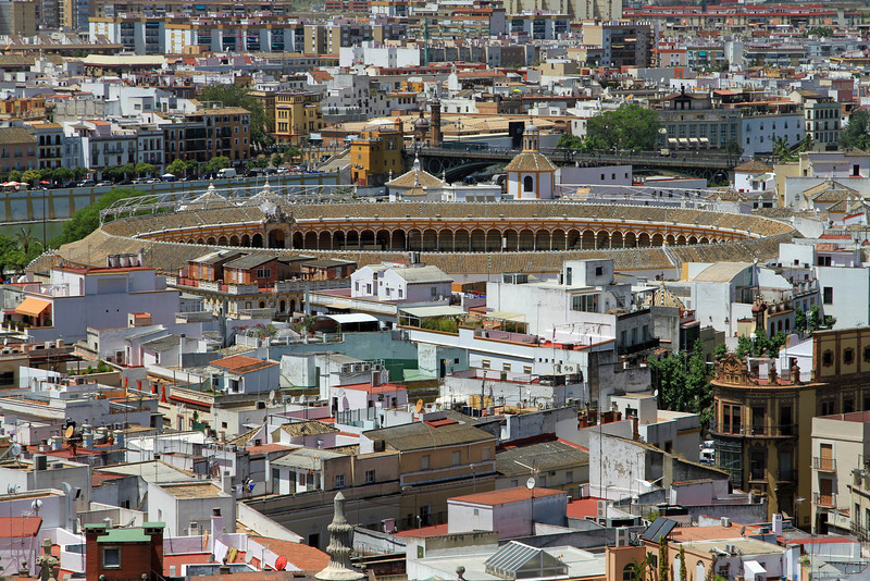 Plaza de Toros de la Maestranza, Sevilles historic bullring, viewed from the top of La Giralda.