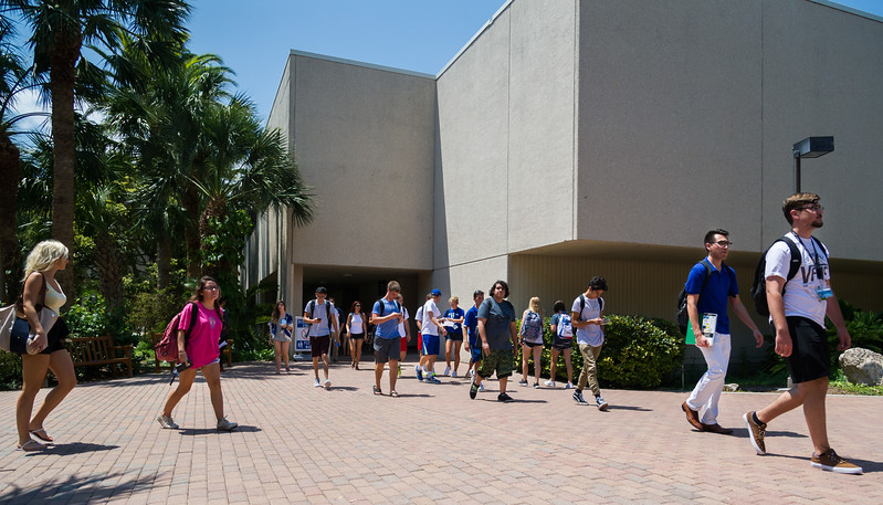 Student coming to and from classes on the first day back here at Texas A&M Corpus Christi.