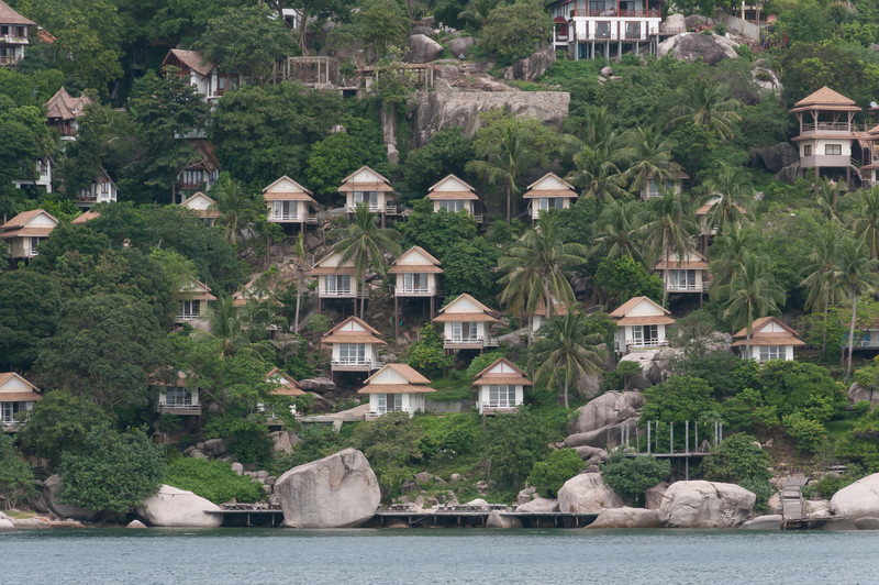 Resort huts on hillside at Ko Samui, Thailand