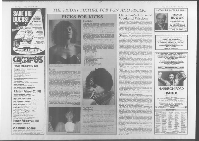 Daily Trojan, Vol. 106, No. 32, February 26, 1988