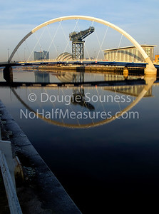 'Squint' 21 January 2011 The Clyde Arc aka the squinty bridge providing a massive eye's view of the River Clyde at Finnieston including the Titan Crane and Clyde Auditorium aka the Armadillo. Govan, Glasgow, Scotland