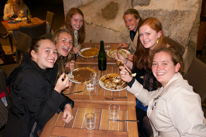 Lexi, Ema, Kiersten, Ms. Drewes, Merritt, and Catherine enjoying the crepes of Annecy