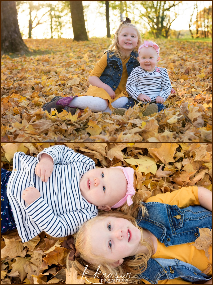 Sisters in the leaves