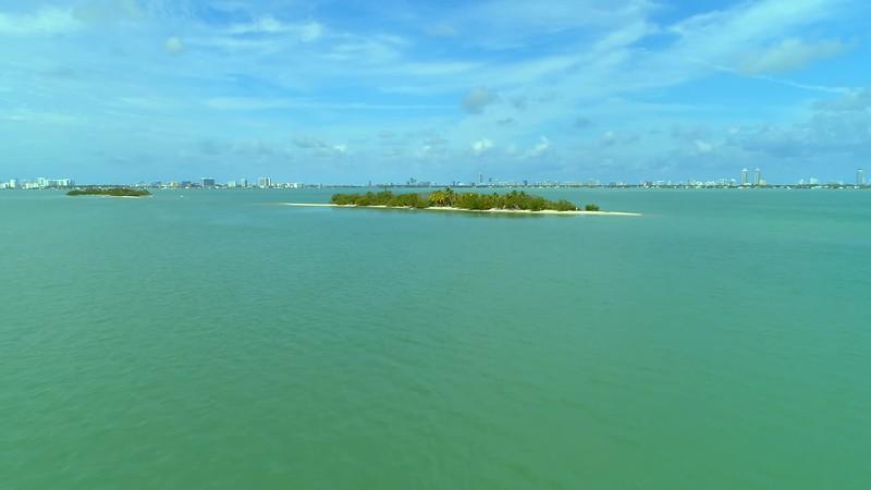 Aerial dynamic video Picnic Island Miami Biscayne Bay Florida