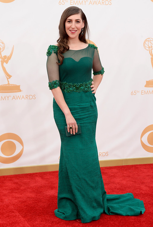 . Actress Mayim Bialik arrives at the 65th Annual Primetime Emmy Awards held at Nokia Theatre L.A. Live on September 22, 2013 in Los Angeles, California.  (Photo by Frazer Harrison/Getty Images)