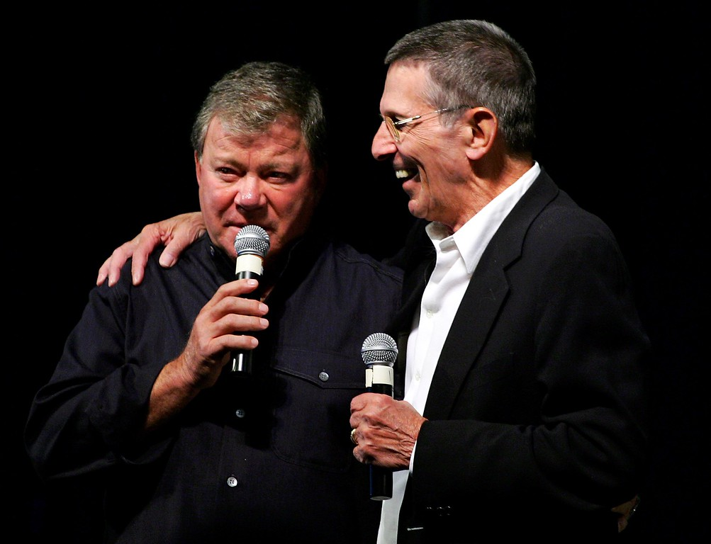 . Actor/directors and original Star Trek series co-stars William Shatner (L) and Leonard Nimoy speak to fans at the fifth annual official Star Trek convention at the Las Vegas Hilton August 19, 2006 in Las Vegas, Nevada.  (Photo by Ethan Miller/Getty Images)