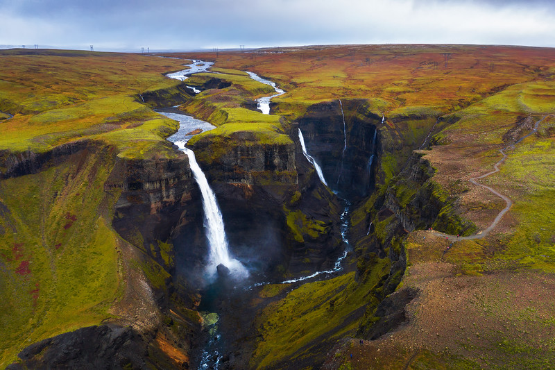 Aerial view of the Haifoss and Granni waterfalls in Iceland