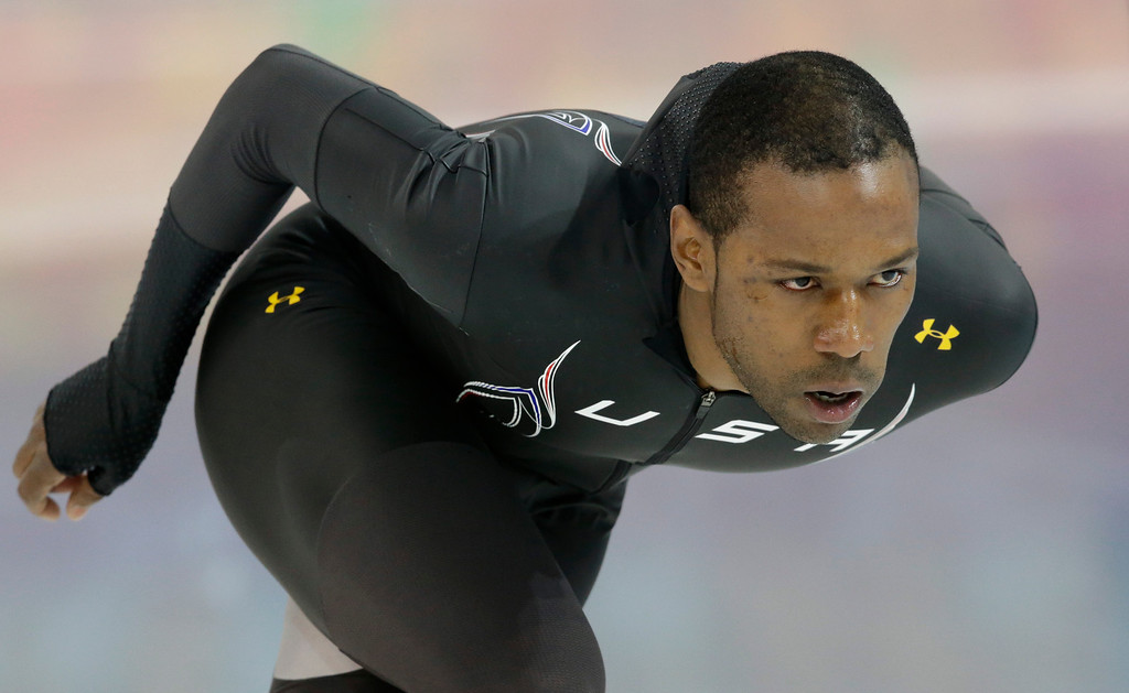 . Speedskater Shani Davis of the U.S. trains at the Adler Arena Skating Center during the 2014 Winter Olympics in Sochi, Russia, Wednesday, Feb. 5, 2014. (AP Photo/Patrick Semansky)