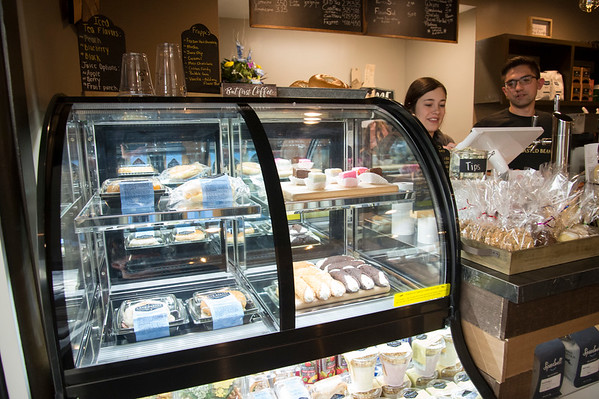 01/27/20 Wesley Bunnell | StaffrrA display case with sandwiches and desserts at the Roasted Bean coffee shop on Monday afternoon. The shop which opened approximately two weeks ago is located at 934 Terryville Ave in Bristol.
