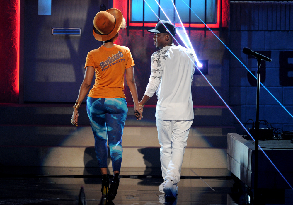 . Erykah Badu, left and Kendrick Lamar perform onstage at the BET Awards at the Nokia Theatre on Sunday, June 30, 2013, in Los Angeles. (Photo by Frank Micelotta/Invision/AP)