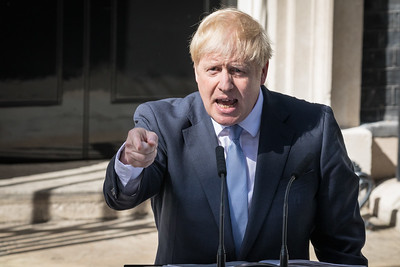 New Prime Minister Boris Johnson makes his first speech as PM outside No 10 Downing Street, Westminster, London, UK