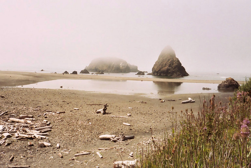 In 2003 I drove from the Mexican to Canadian borders along the west coast of America, sleeping in my car. One morning shortly after dawn in Oregon I encountered this misty beach.