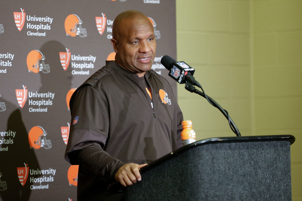 . Cleveland Browns head coach Hue Jackson during a press conference following an NFL football game against the Indianapolis Colts in Indianapolis, Sunday, Sept. 24, 2017. The Colts defeated the Browns 31-28. (AP Photo/AJ Mast)