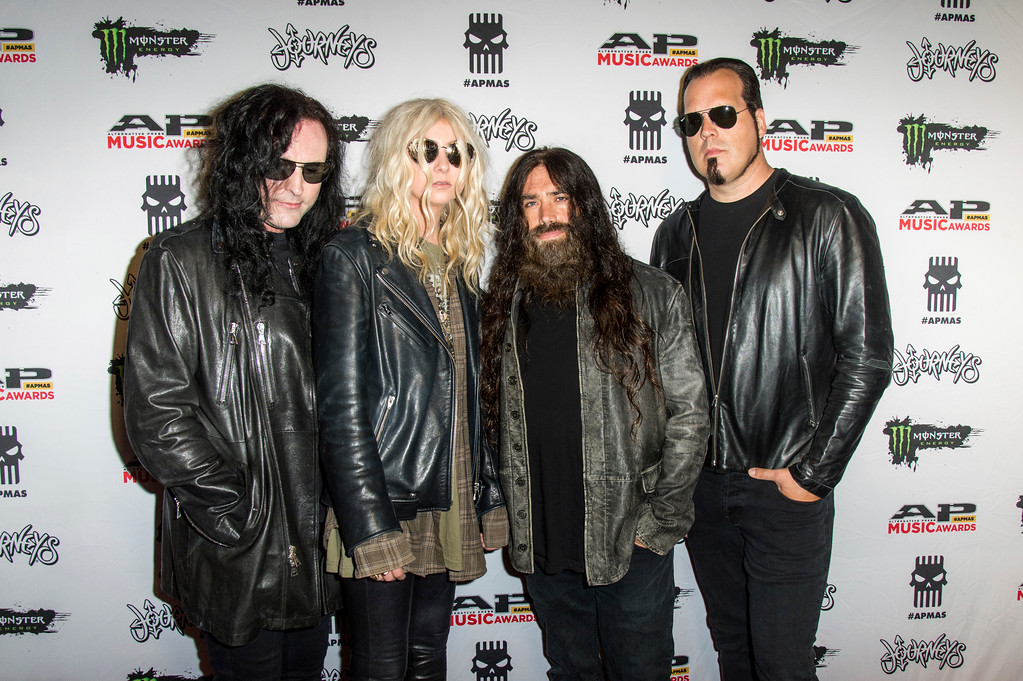 . Ben Phillips, from left, Taylor Momsen, Jamie Perkins and Mark Damon of The Pretty Reckless seen at 2017 Alternative Press Music Awards at the KeyBank State Theatre on Monday, July 17, 2017, in Cleveland. (Photo by Amy Harris/Invision/AP)
