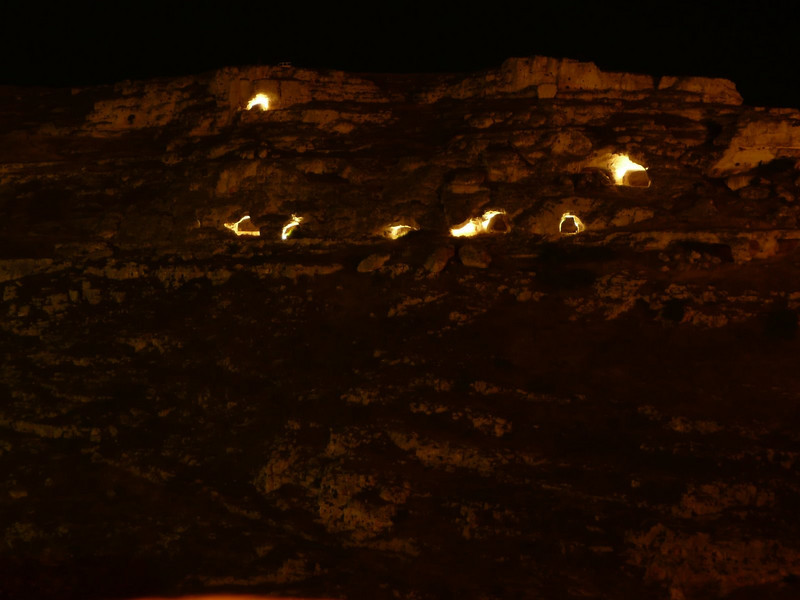 Caves lit up at night