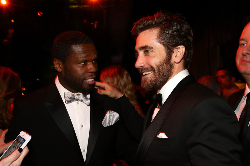 . 50 Cent (L) and Jake Gyllenhaal attend The Weinstein Company & Netflix\'s 2015 Golden Globes After Party presented by FIJI Water, Lexus, Laura Mercier and Marie Claire at The Beverly Hilton Hotel on January 11, 2015 in Beverly Hills, California.  (Photo by Rich Polk/Getty Images for FIJI Water)
