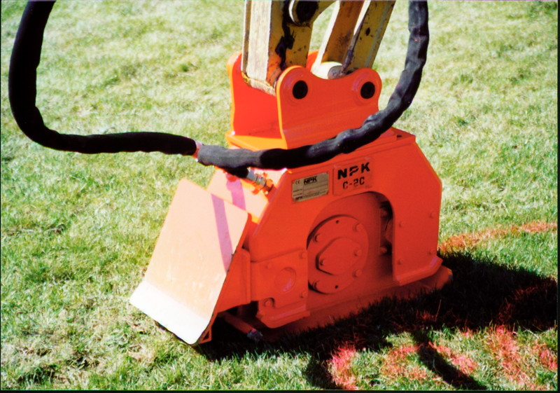 NPK C2C compactor with backfill blade on Cat mini excavator (11).JPG