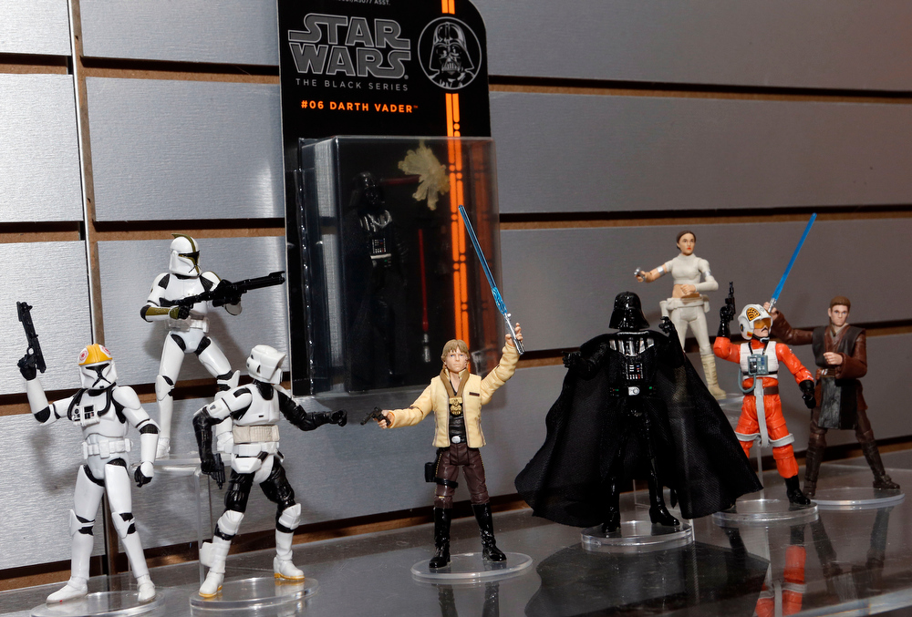 . The new STAR WARS BLACK SERIES 3.75-inch action figures, featuring highly detailed collectible figures from the classic brand, are displayed in Hasbroís showroom at the American International Toy Fair, Saturday, Feb. 9, 2013, in New York. (Photo by Jason DeCrow/Invision for Hasbro/AP Images)