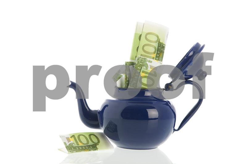 Blue ename tea pot with money