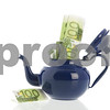 Blue ename tea pot with money